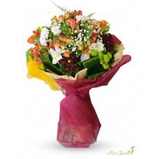 Buchet alstromeria, trandafiri, crizanteme