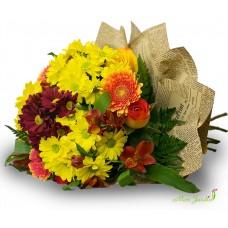 Buchet alstromelia, crizanteme, trandafiri, gherbera