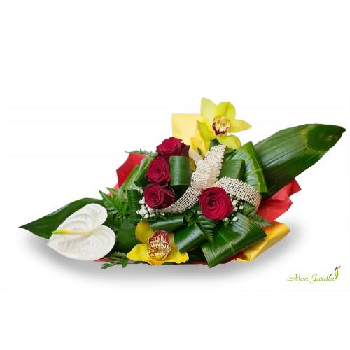 Buchet trandafiri, anthurium, orhideea