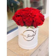 Cutie Deluxe alba Mini cu trandafiri rosii